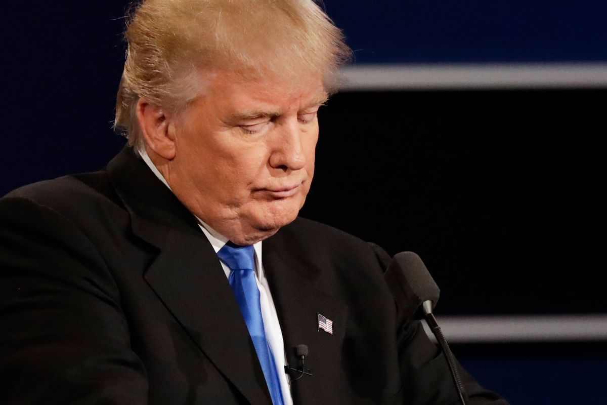 Republican presidential nominee Donald Trump listens to an answer to a question from Democratic presidential nominee Hillary Clinton during the presidential debate at Hofstra University in Hempstead, N.Y., Monday, Sept. 26, 2016. (AP Photo/David Goldman) (AP)