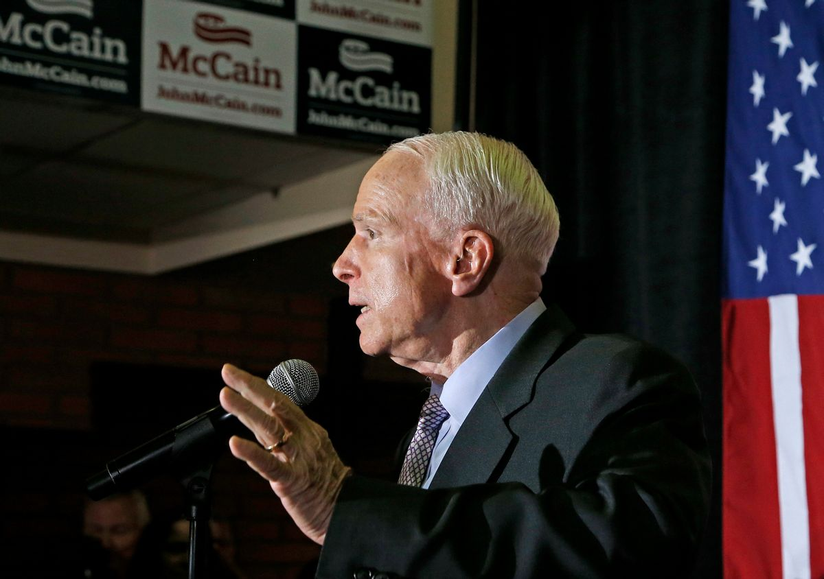 FILE - In this Aug. 30, 2016 file photo, Sen. John McCain, R-Ariz. speaks to supporters in Phoenix. Republicans don't want to be blamed for prematurely giving up on Donald Trump, the party's presidential nominee, for fear of alienating his supporters. But with Trump lagging in most polls and Election Day two months off, many in the GOP view the strategy as low-risk because of the deep antipathy many Republicans hold toward Clinton. (AP Photo/Ross D. Franklin, File) (AP)