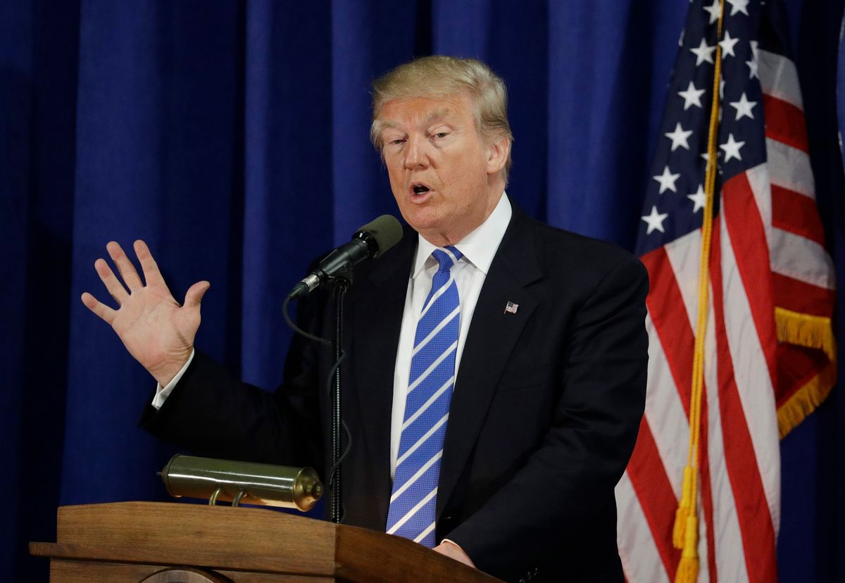 Republican presidential candidate Donald Trump speaks at the Polish National Alliance, Wednesday, Sept. 28, 2016, in Chicago. Trump's ambiguous answer to a debate question on nuclear restraint raised doubts about his understanding of the issue. On the other hand, his words actually mirror the nub of a policy argument inside the Obama administration. (AP Photo/John Locher) (AP)