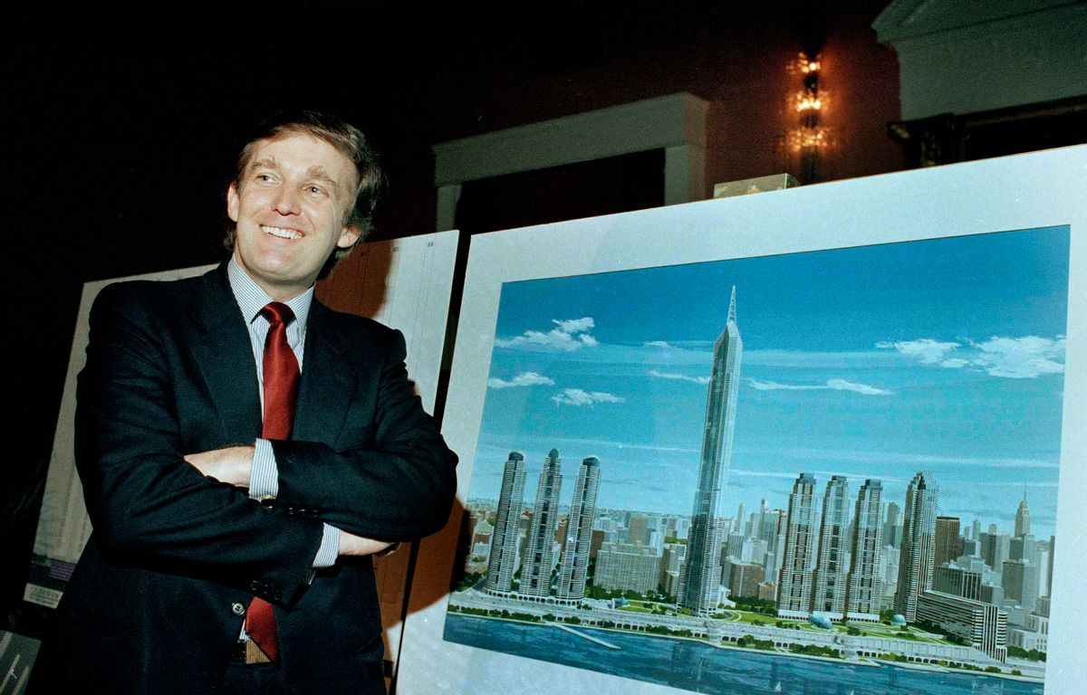 """FILE - In this Nov. 18, 1985 file photo, real estate mogul Donald Trump displays an artist's concept of """"Television City,"""" which would be on the far west side of Manhattan. (AP)"""
