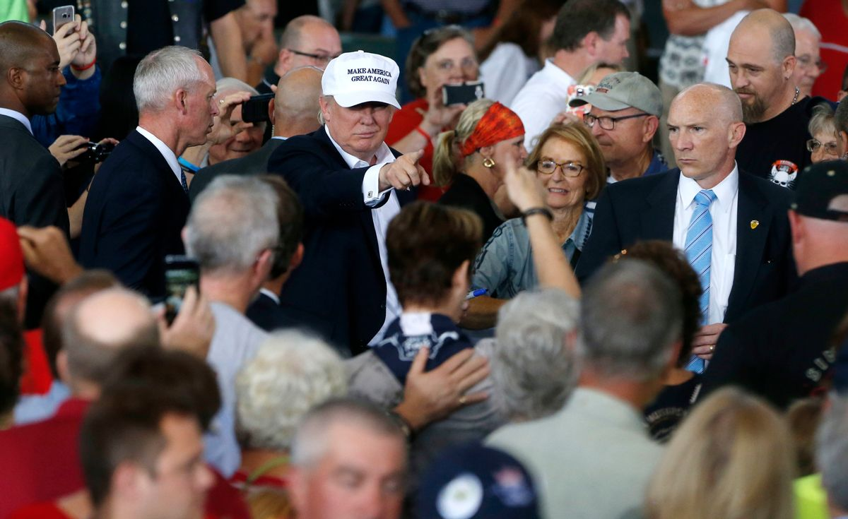 FILE - In this Aug. 2, 2016 file photo, Republican presidential candidate Donald Trump greets the crowd after speaking at Joni's Roast and Ride at the Iowa State Fairgrounds in Des Moines, Iowa. (AP)