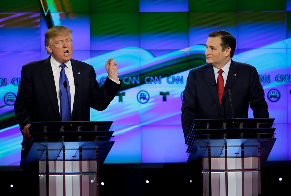 """FILE - In this Feb. 25, 2016 file photo, Sen. Ted Cruz, R-Texas listen as Donald Trump speaks during a Republican presidential primary debate at The University of Houston in Houston. Cruz announced Friday, Sept. 23, 2016, he will vote for Donald Trump, a dramatic about-face for the Texas senator who previously called the New York businessman a """"pathological liar"""" and """"utterly amoral."""" (AP Photo/David J. Phillip, File) (AP Photo/David J. Phillip, File)"""