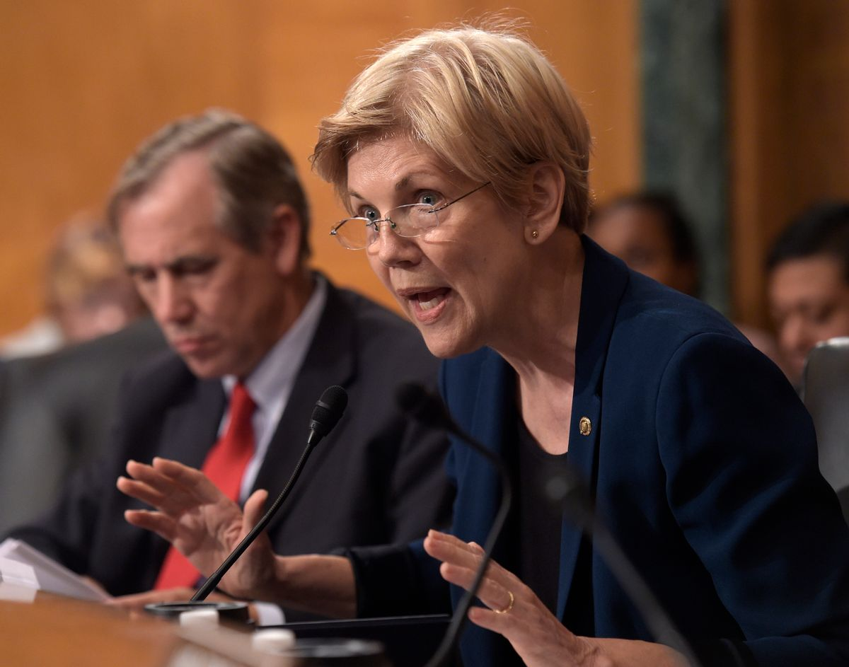 FILE - In this Sept. 20,2016 file photo, Sen. Elizabeth Warren, D-Mass. speaks on Capitol Hill in Washington. Warren accused the Education Department on Thursday, Sept. 29, 2016, of moving forward with debt collection against nearly 80,000 former students of Corinthian Colleges, despite federal and state findings that the now-defunct for-profit chain defrauded students. (AP Photo/Susan Walsh, File) (AP)