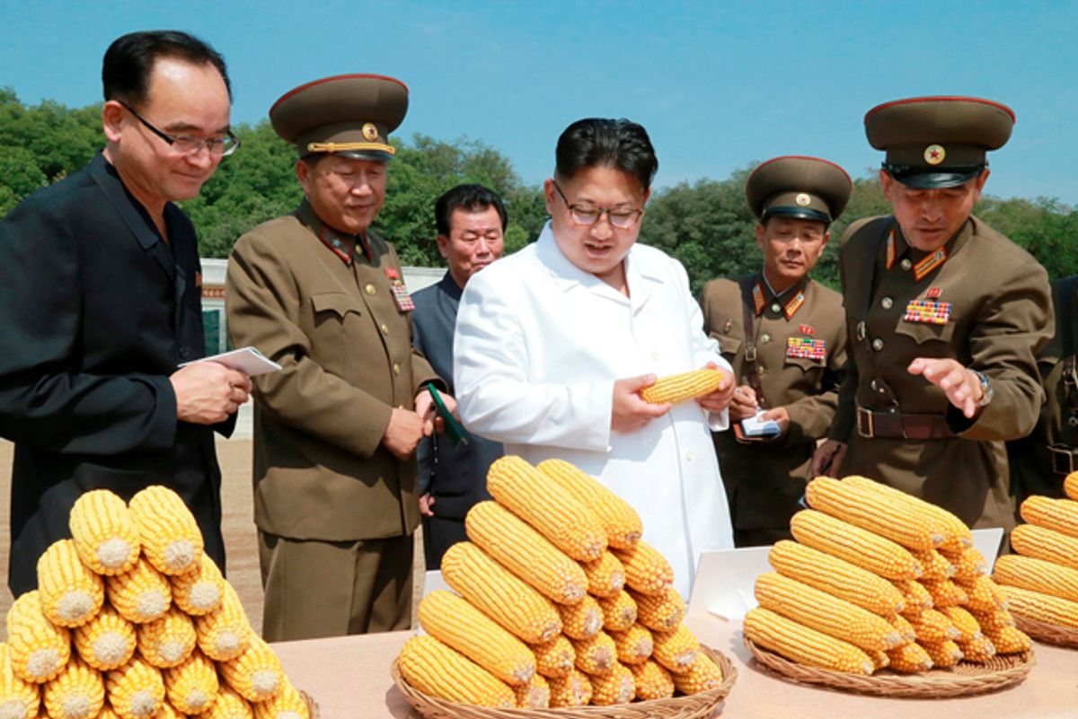 North Korean leader Kim Jong Un provides field guidance to Farm No. 1116 under KPA Unit 810, in this undated photo released by North Korea's Korean Central News Agency (KCNA) in Pyongyang. (Reuters)