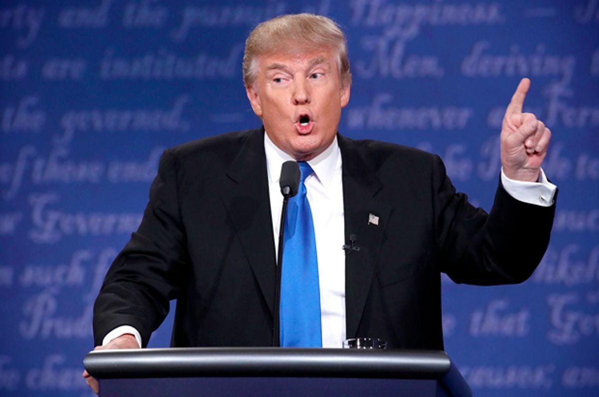 Donald Trump speaks during the Presidential Debate at Hofstra University on September 26, 2016 in Hempstead, New York.   (Getty/Win McNamee)
