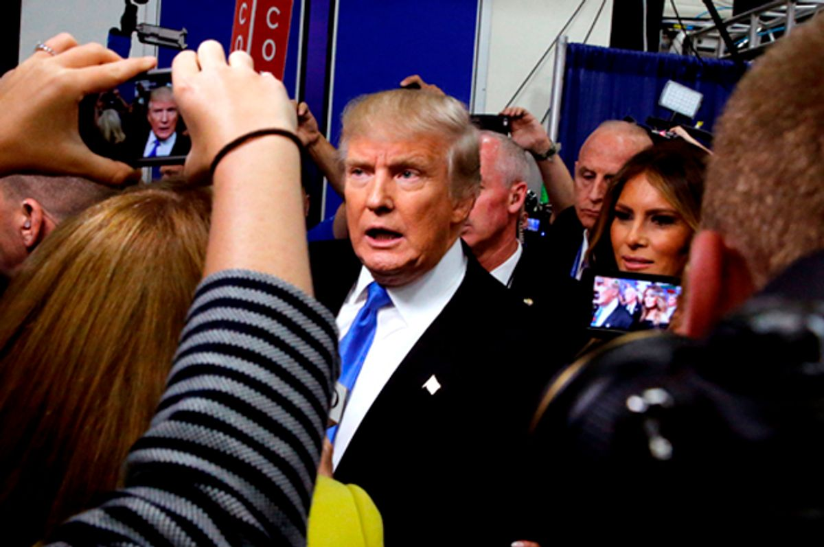 Donald Trump talks to reporters in the spin room after the Presidential Debate, September 26, 2016.   (Reuters/Jonathan Ernst)