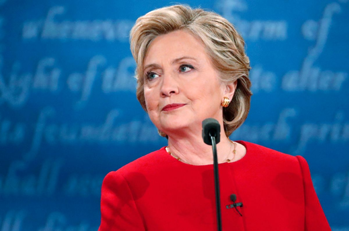Hillary Clinton looks on during the presidential debate in Hempstead, New York, September 26, 2016.   (Reuters/Brian Snyder)