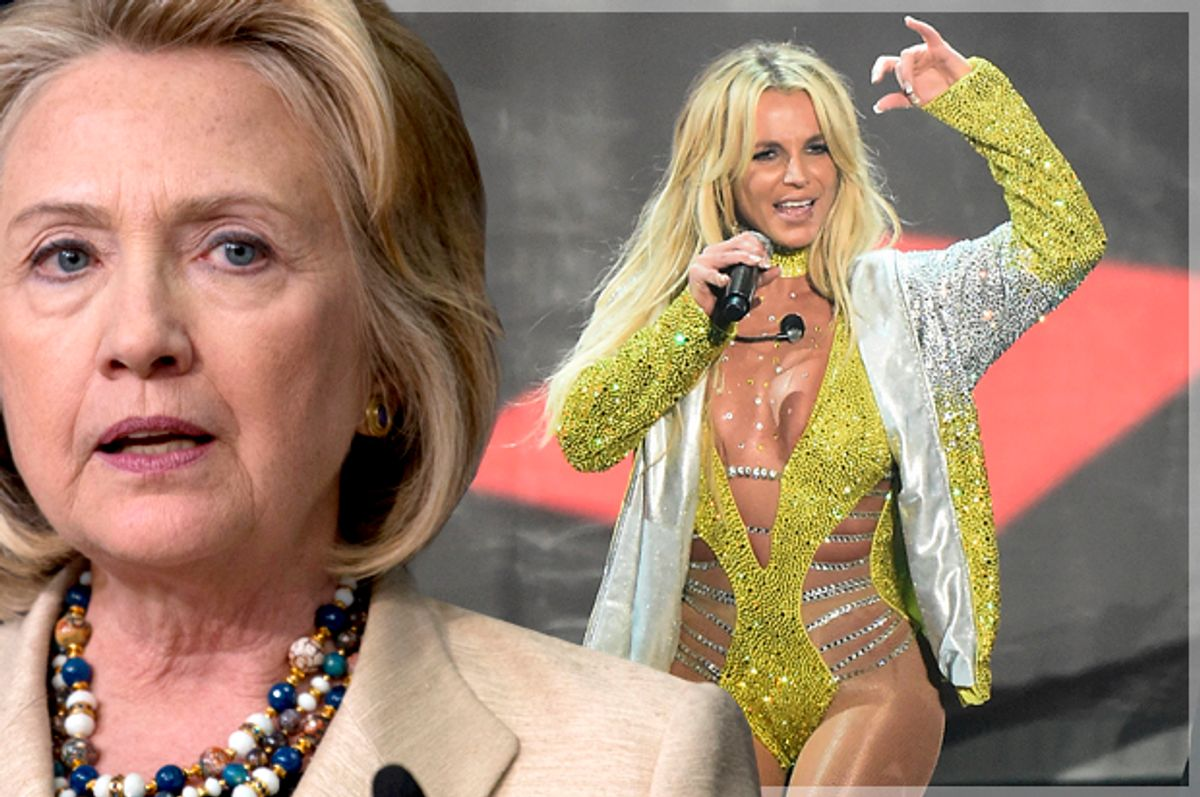 Hillary Clinton; Britney Spears   (AP/Carolyn Kaster/Getty/Michael Loccisano/Photo montage by Salon)