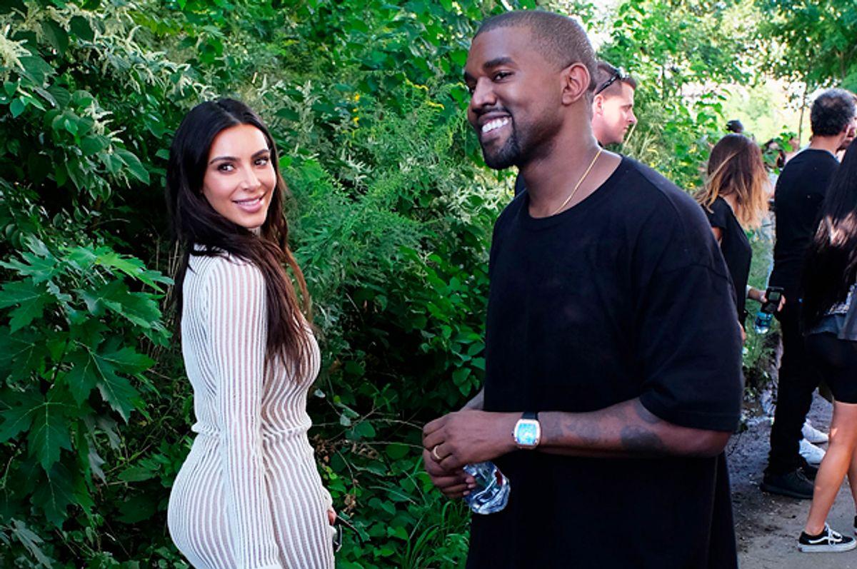 Kim Kardashian and Kanye West attend the Yeezy Season 4 fashion show, September 7, 2016 in New York City.    (Getty/Jamie McCarthy)