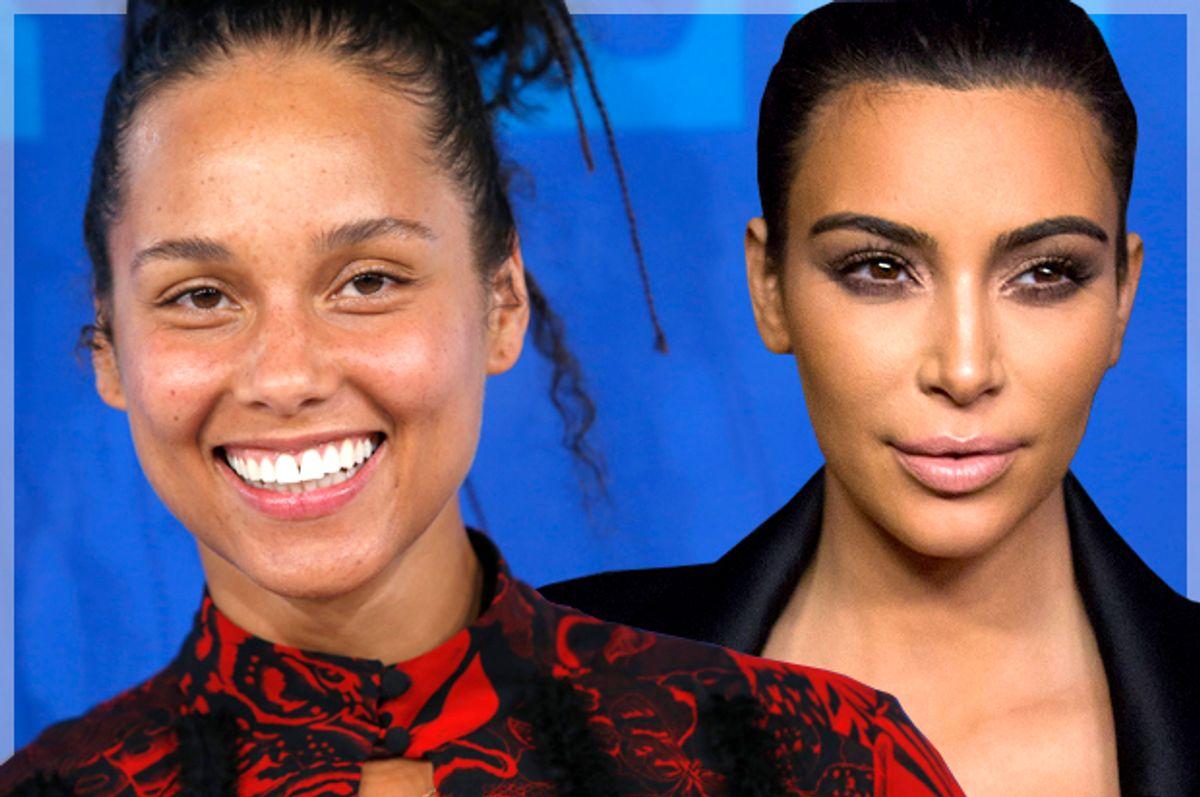 Alicia Keys; Kim Kardashian   (Reuters/Eduardo Munoz/Mario Anzuoni/Photo montage by Salon)