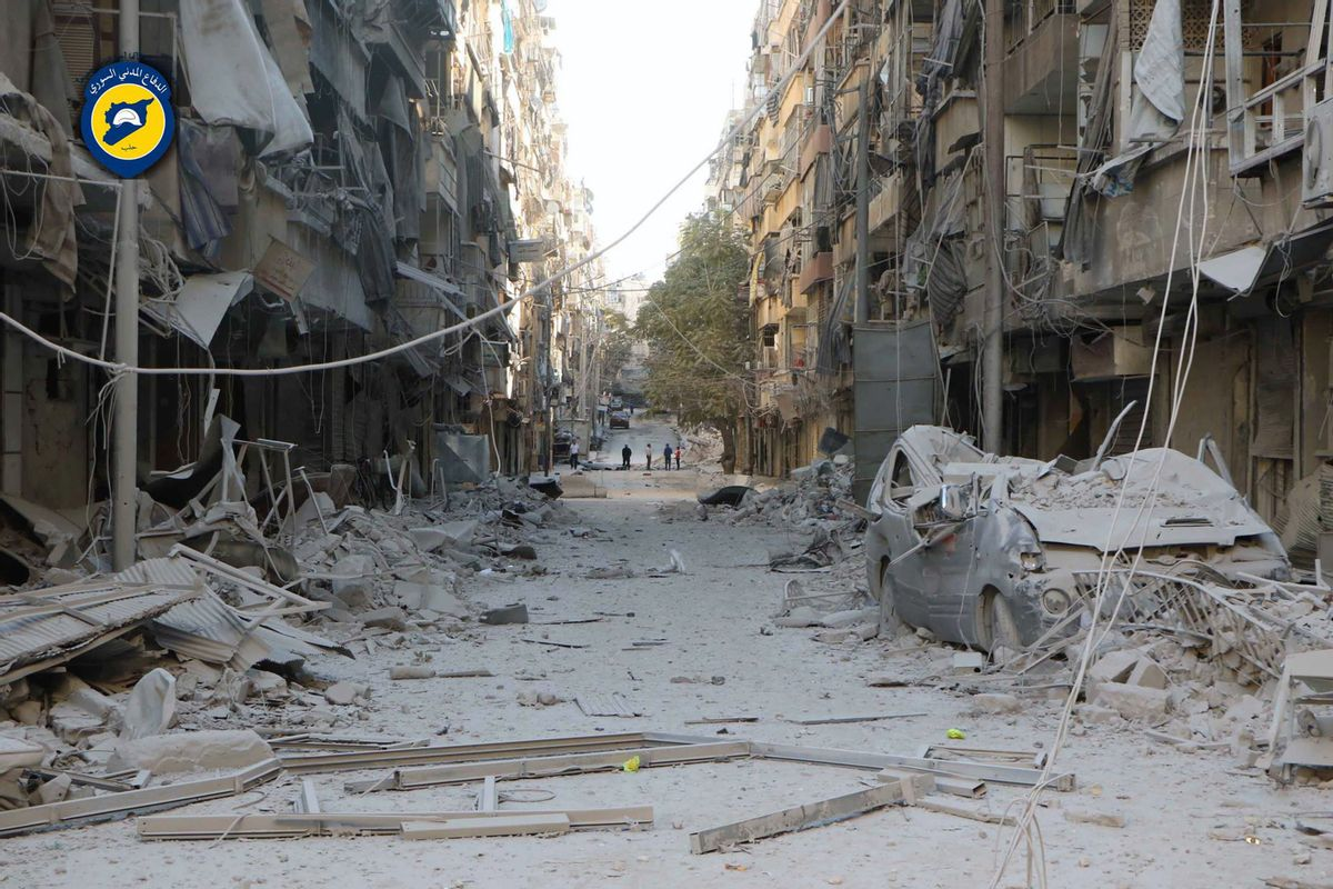 In this photo provided by the Syrian Civil Defense group known as the White Helmets, shows heavily damaged buildings after airstrikes hit in Aleppo, Syria. (AP)