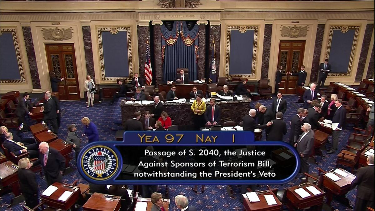 This frame grab from video provided by C-SPAN2, shows the floor of the Senate on Capitol Hill in Washington, Wednesday, Sept. 28, 2016, as the Senate acted decisively to override President Barack Obama's veto of Sept. 11 legislation. The White House saw it coming, but still it stung. When President Barack Obama was hit with the first veto override of his presidency on Wednesday, it landed as a clear reminder of his dwindling political influence, years of confounding relationships with Congress and shaky prospects for the few legislative priorities he has left (C-SPAN2 via AP) (AP)