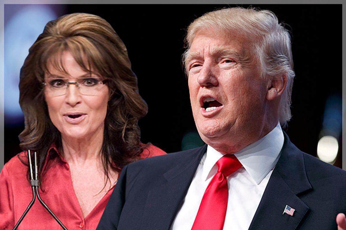 Sarah Palin; Donald Trump   (Reuters/Jonathan Ernst/AP/Evan Vucci/Photo montage by Salon)