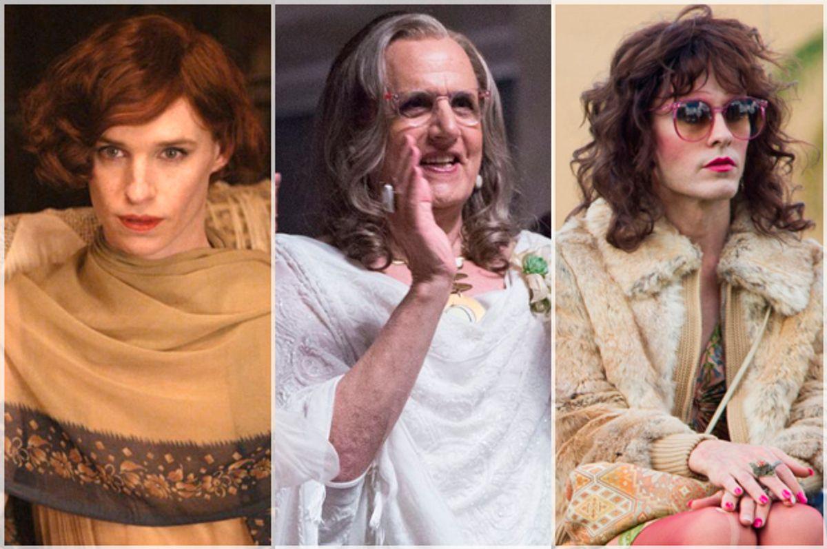 "Eddie Redmayne in ""The Danish Girl;"" Jeffrey Tambor in ""Transparent;"" Jared Leto in ""Dallas Buyers Club"""
