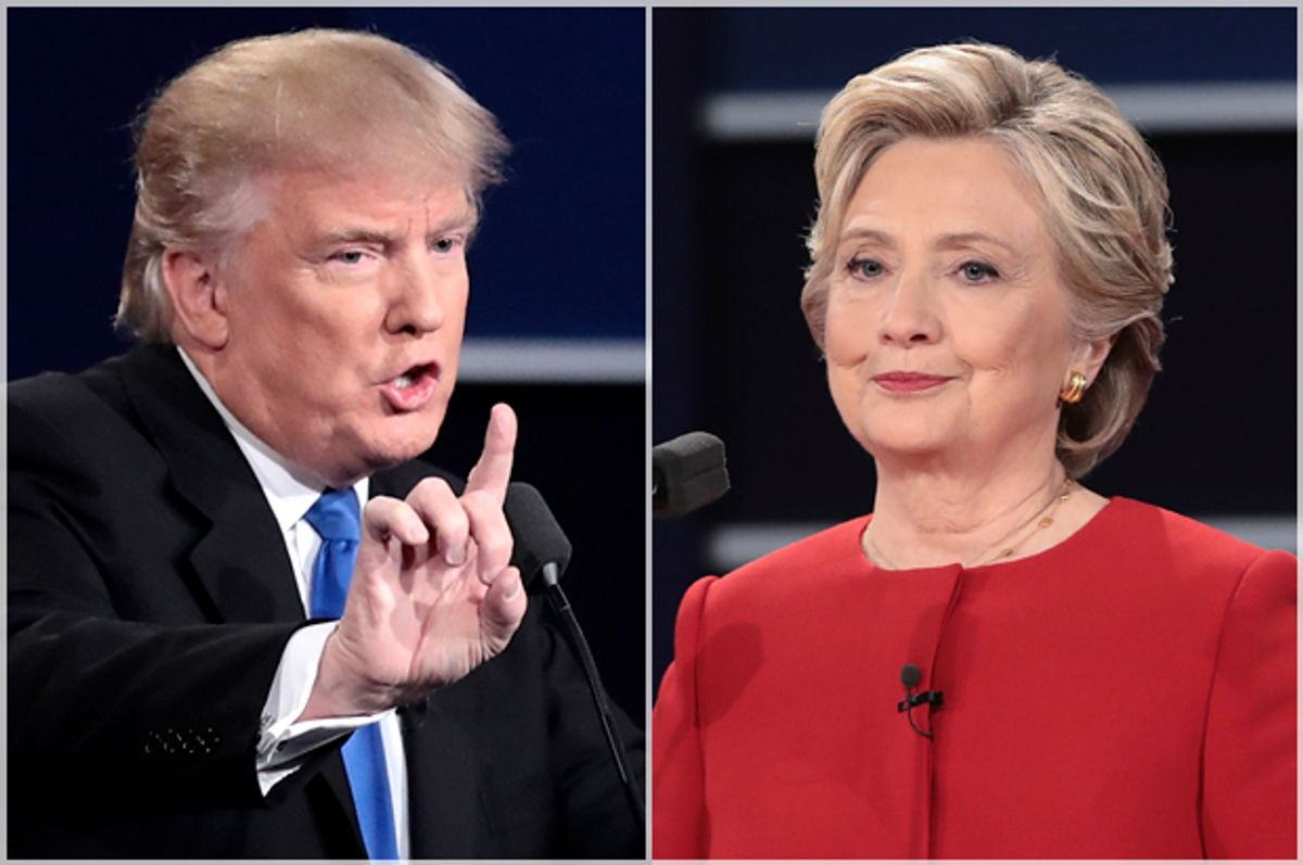 Donald Trump; Hillary Clinton at the presidential debate in Hempstead, N.Y., Monday, Sept. 26, 2016.   (Getty/Drew Angerer)