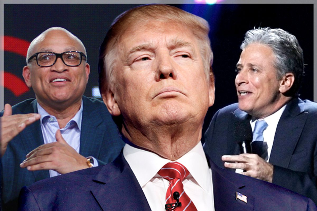 Larry Wilmore; Donald Trump; Jon Stewart   (AP/Reuters/David McNew/Rick Wilking/Lucas Jackson/Photo montage by Salon)
