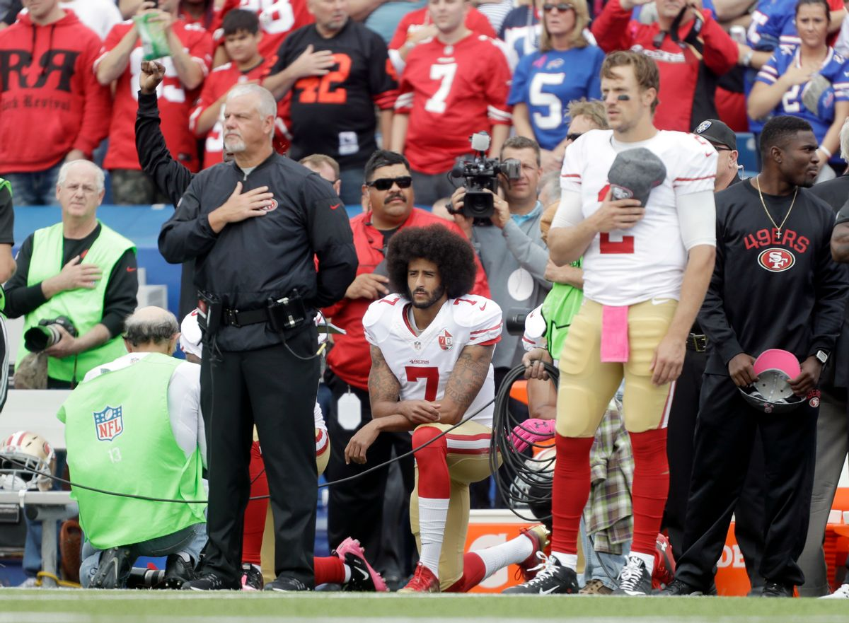 San Francisco 49ers quarterback Colin Kaepernick (7) kneels during the national anthem before an NFL football game against the Buffalo Bills on Sunday, Oct. 16, 2016, in Orchard Park, N.Y. (AP Photo/Mike Groll) (AP)