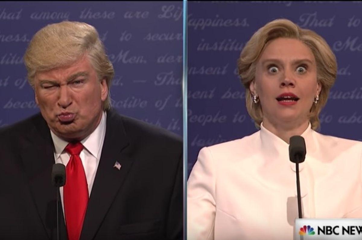 "Alec Baldwin as Donald Trump and Kate McKinnon as Hillary Clinton on ""Saturday Night Live"" (NBC)"
