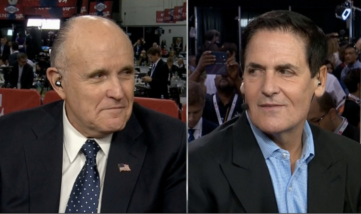 Mark Cuban debates Rudy Giuliani ahead of the final presidential debate, October 19, 2016 (CNN)