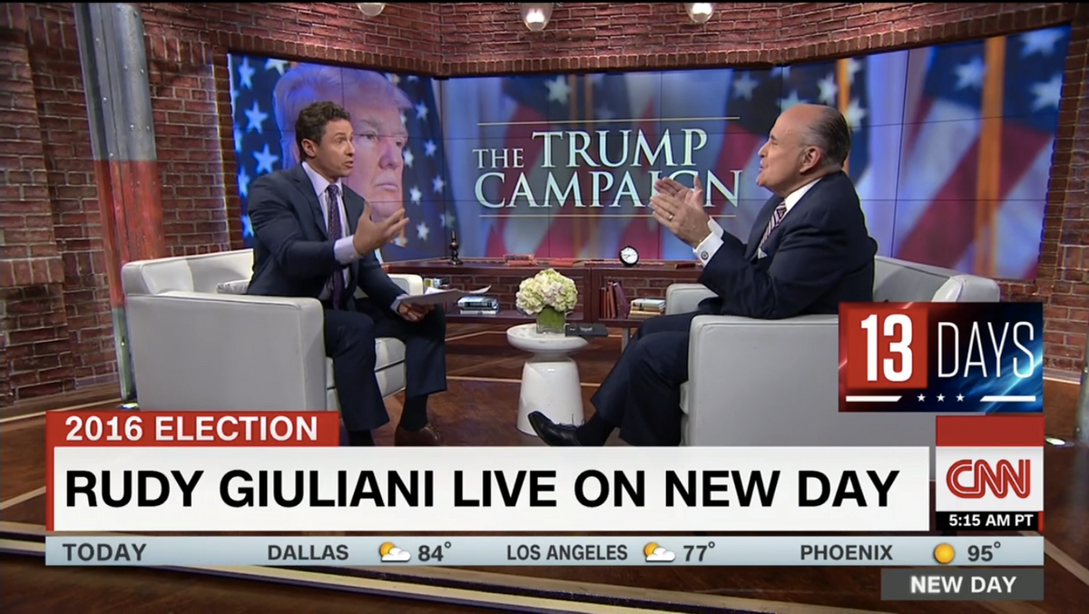 """Rudy Giuliani gives an interview with Chris Cuomo on CNN """"New Day"""" on October 26, 2016 (CNN)"""