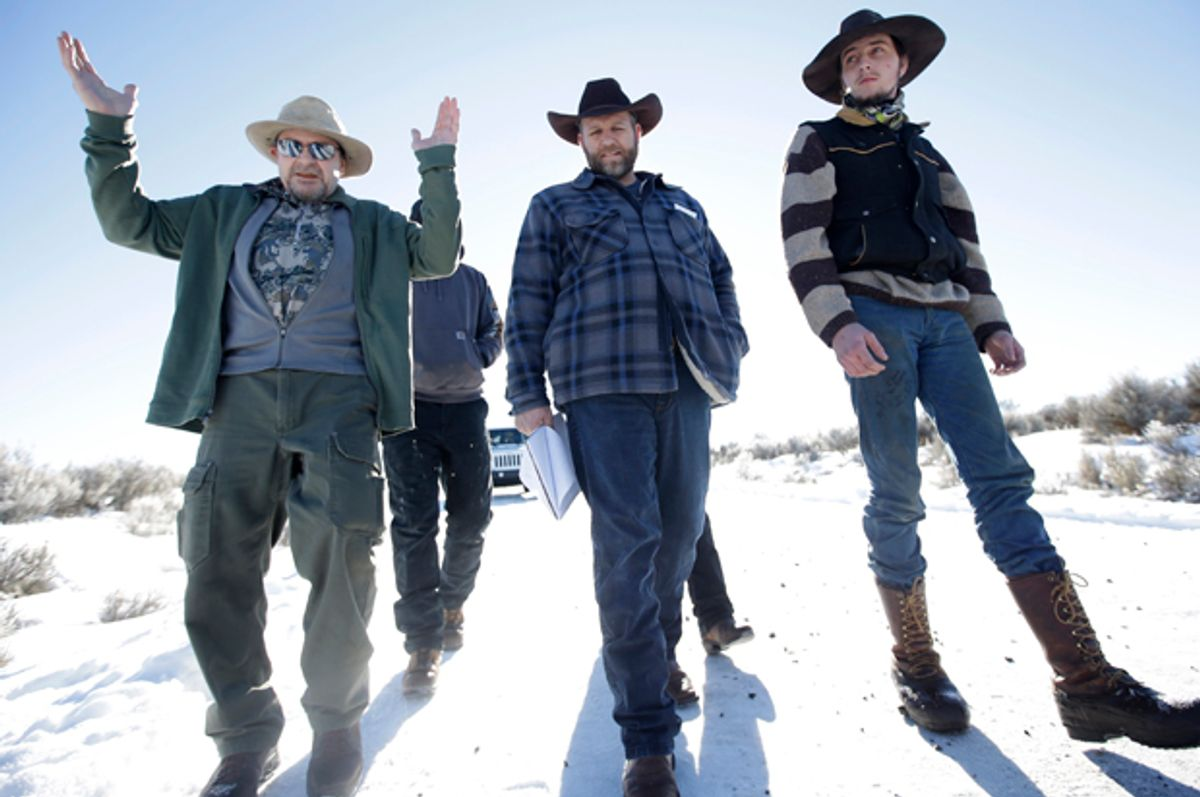 Ammon Bundy, center,  Jan 8, 2016.   (AP/Rick Bowmer)