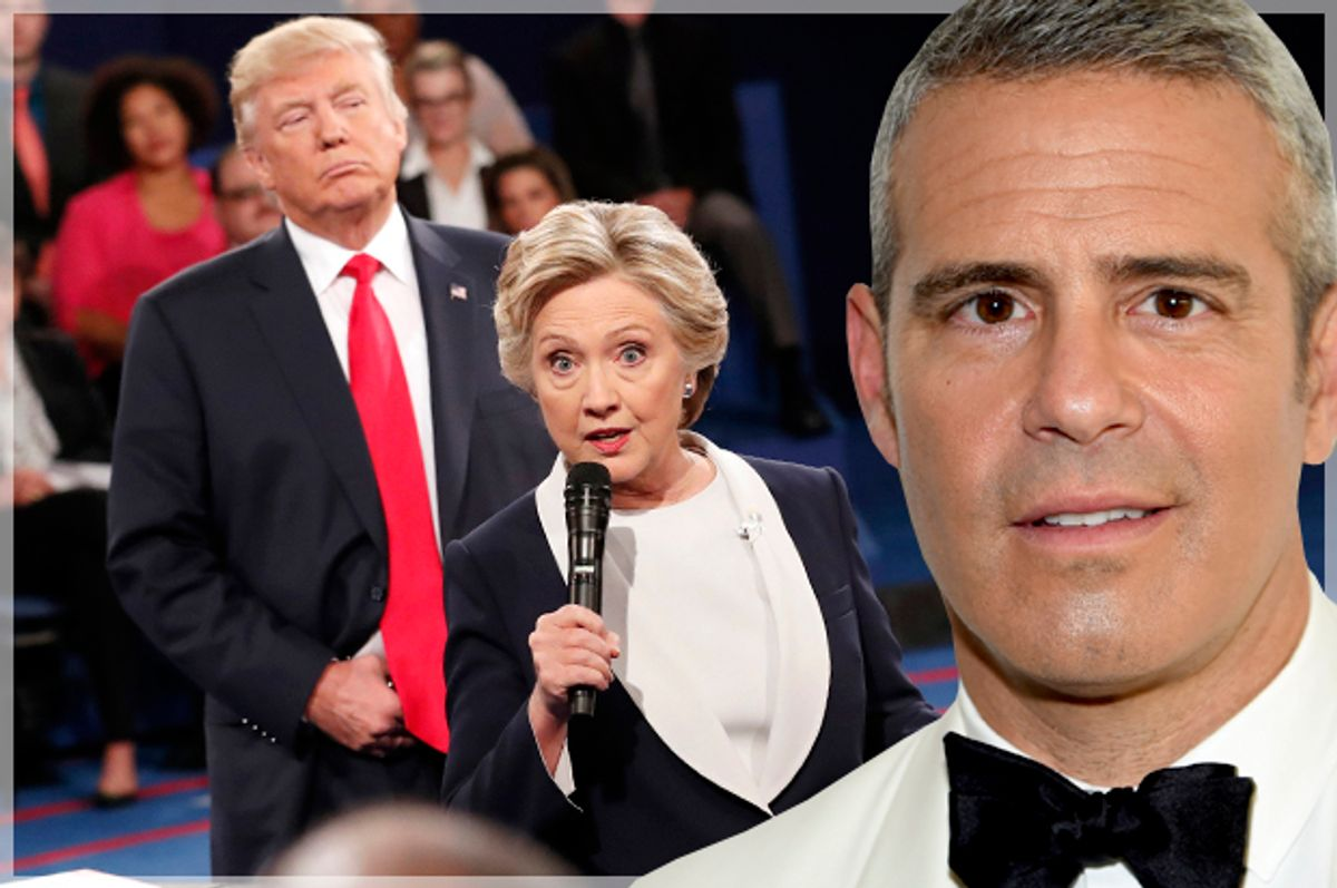 Donald Trump and Hillary Clinton; Andy Cohen (Getty/Larry Busacca/AP/Rick T. Wilking/Photo montage by Salon)