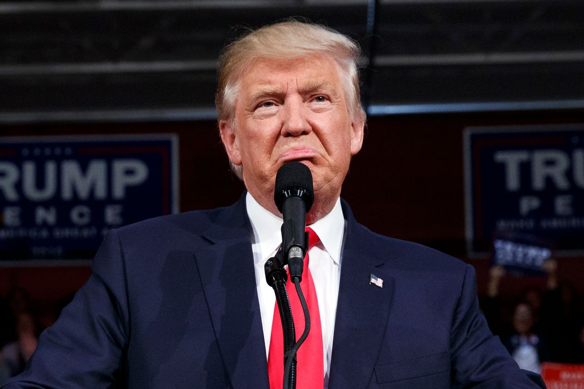 Republican presidential candidate Donald Trump speaks during a campaign rally, Monday, Oct. 10, 2016, in Ambridge, Pa.  (AP)