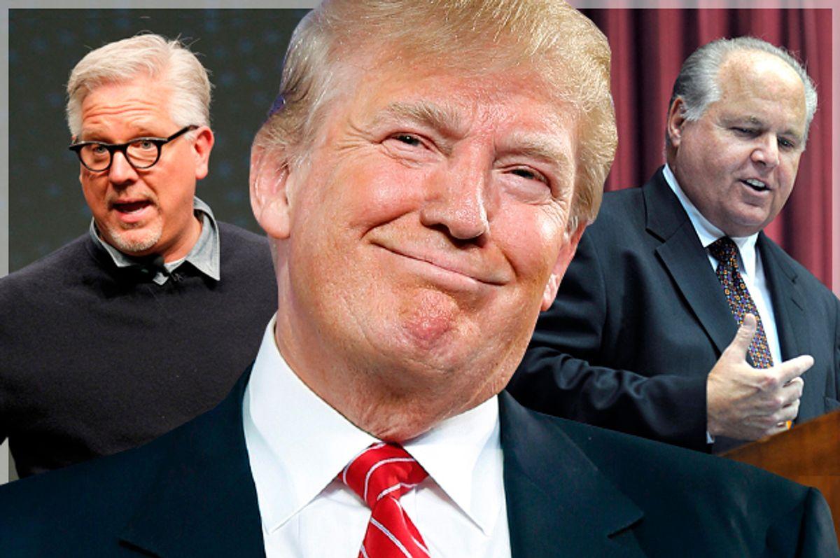 Glenn Beck; Donald Trump; Rush Limbaugh   (Reuters/John Sommers II/AP/Andrew Harnik/Julie Smith/Salon)
