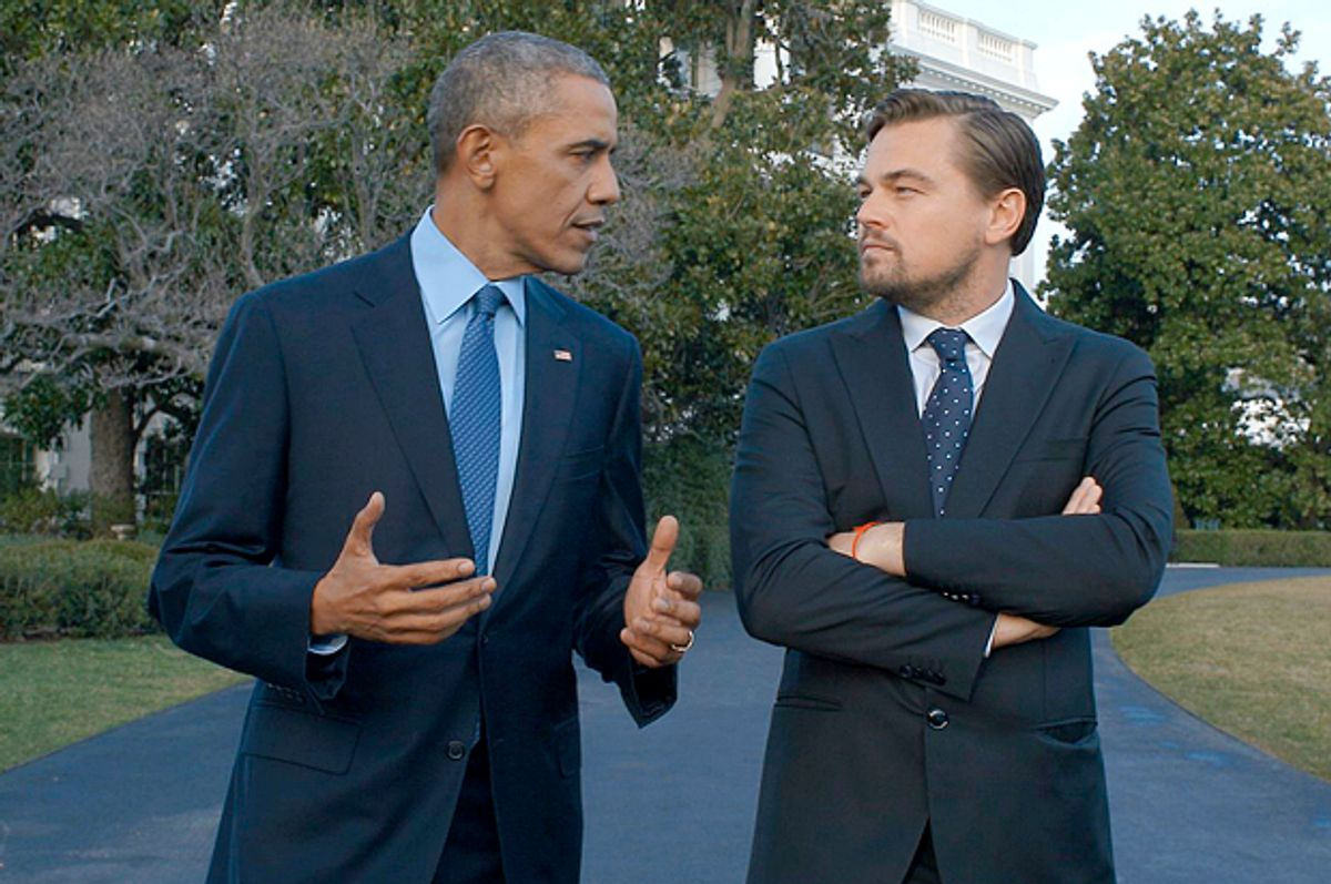 """Barack Obama and Leonardo DiCaprio in """"Before the Flood""""   (National Geographic Channel)"""
