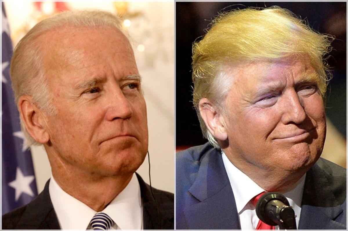 Joe Biden; Donald Trump   (Reuters/Ints Kalnins/Bryan Woolston)