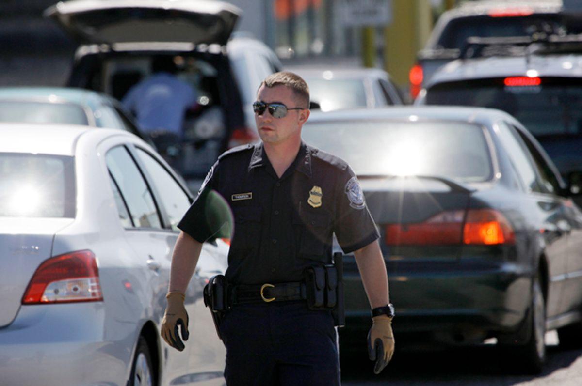 A U.S. Customs and Border Protection officer near Blaine, Wash.,  July 21, 2009.    (AP/Elaine Thompson)