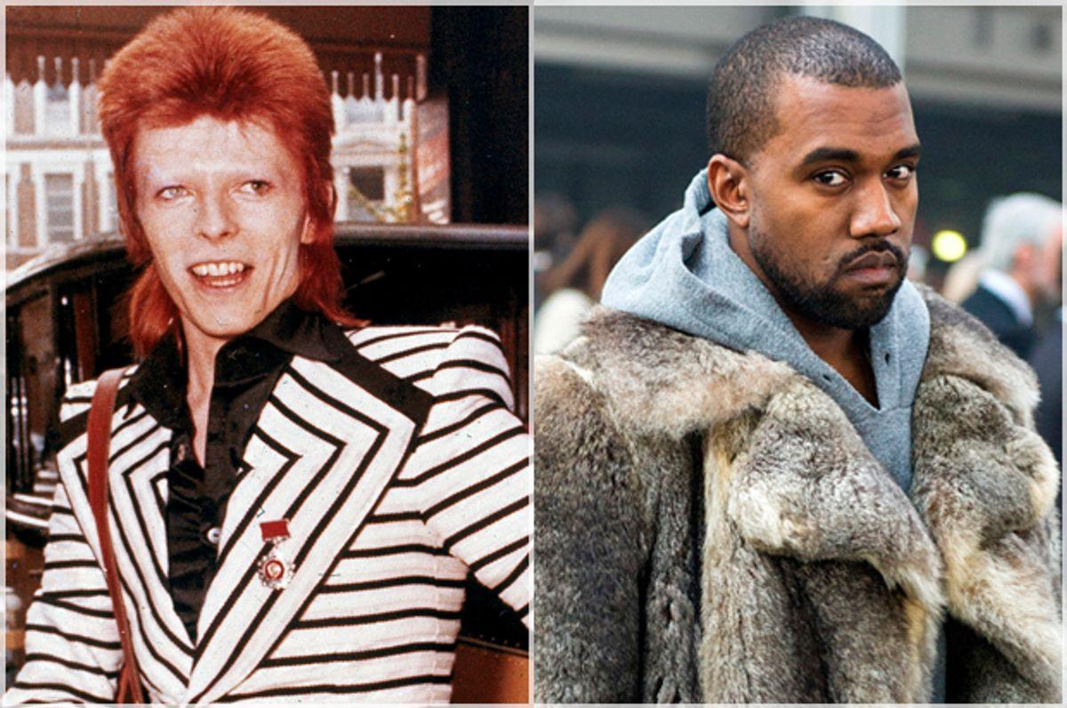 David Bowie; Kanye West   (AP/Zacharie Scheurer)