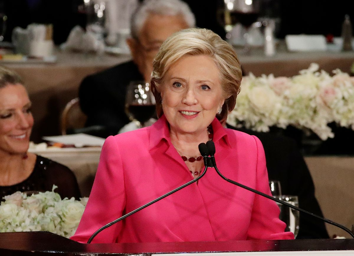 Democratic presidential candidate Hillary Clinton speaks at the 71st Annual Alfred E. Smith Memorial Foundation Dinner Thursday, Oct. 20, 2016, in New York. (AP Photo/Frank Franklin II) (AP)
