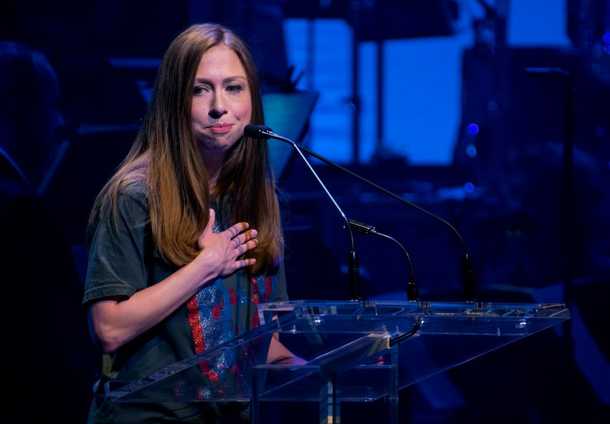 Chelsea Clinton, daughter of Hillary Clinton, speaks about her mother as she joins actors and performers as she participated during a benefit concert for the Hillary Victory Fund Monday, Oct. 17, 2016, in New York. (AP Photo/Craig Ruttle) (AP)