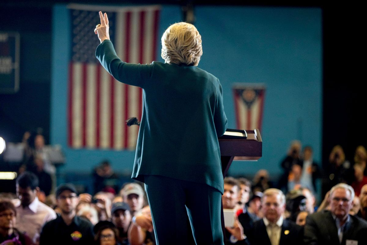 Democratic presidential candidate Hillary Clinton speaks at a rally at Cuyahoga Community College in Cleveland, Friday, Oct. 21, 2016. (AP Photo/Andrew Harnik) (AP)