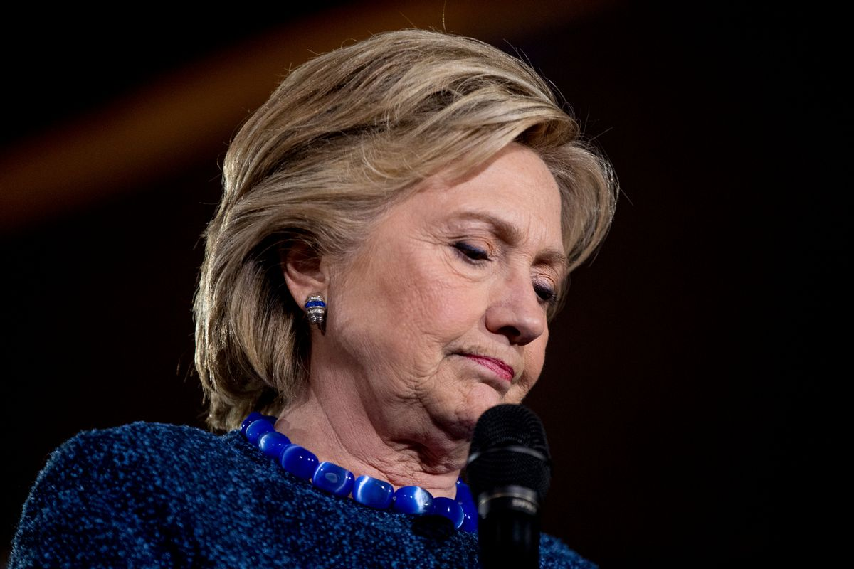Democratic presidential candidate Hillary Clinton pauses while speaking at a rally at Theodore Roosevelt High School in Des Moines, Iowa, Friday, Oct. 28, 2016. (AP Photo/Andrew Harnik) (AP)