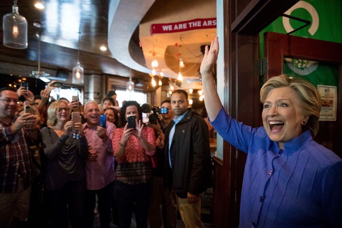 Democratic presidential candidate Hillary Clinton arrives at an early voting brunch at Fado Irish Pub in Miami, Sunday, Oct. 30, 2016.  (AP)