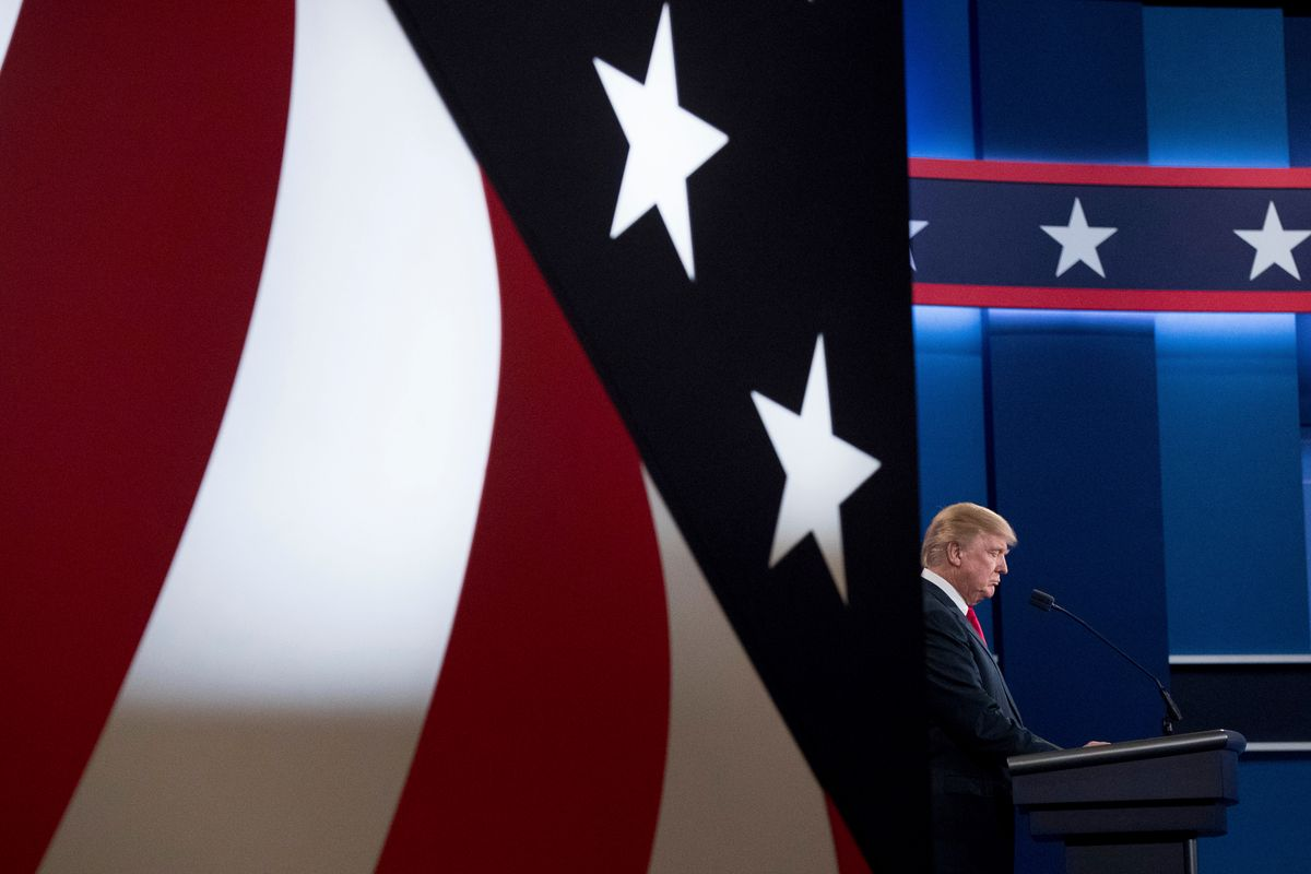 Republican presidential candidate Donald Trump takes the stage for the third presidential debate at University of Nevada in Las Vegas, Wednesday, Oct. 19, 2016, for the third presidential debate.  (AP)