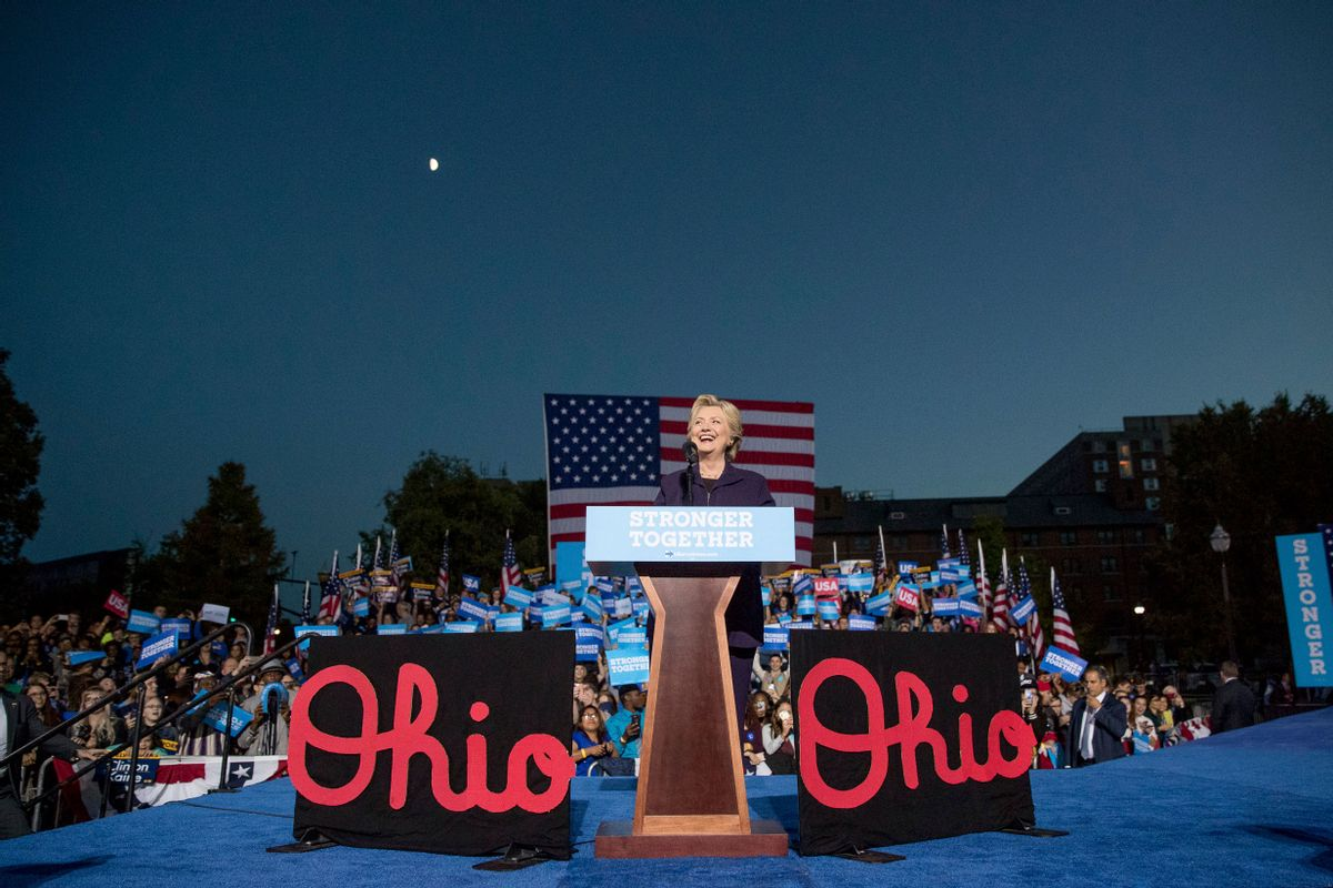 FILE - In this Oct. 10, 2016 file photo, Democratic presidential candidate Hillary Clinton smiles while speaking at a rally at The Ohio State University in Columbus, Ohio.   (AP)