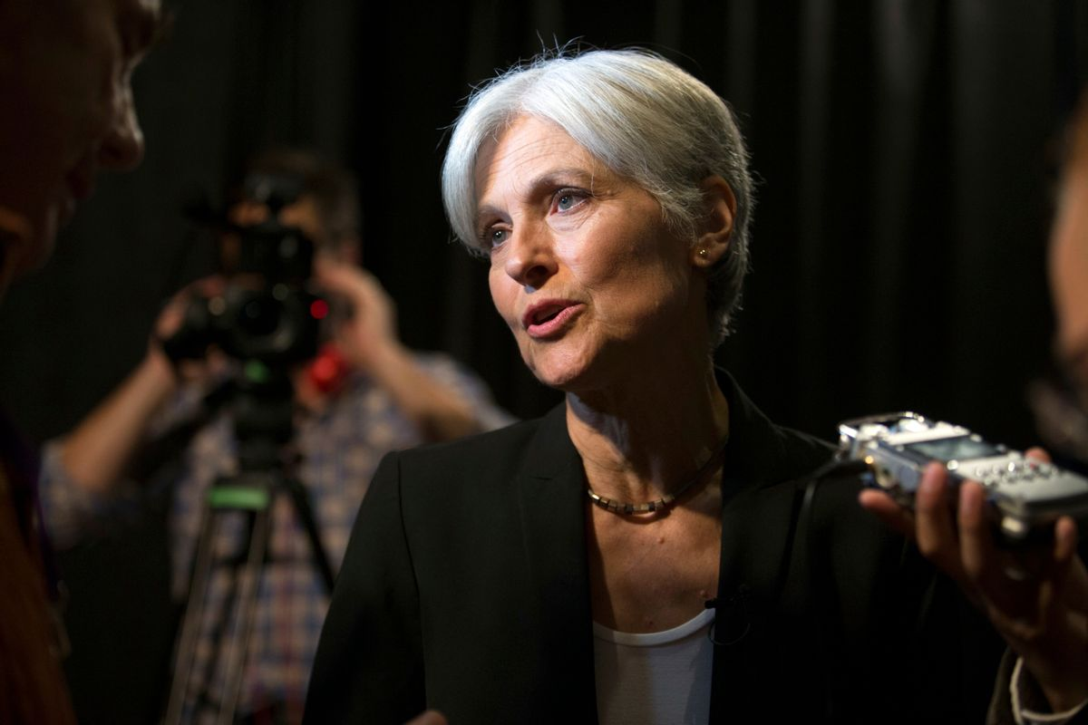 Green party presidential candidate Jill Stein answers questions from members of the media during a campaign stop at Humanist Hall in Oakland, Calif. on Thursday, Oct. 6, 2016. (AP Photo/D. Ross Cameron) (AP)