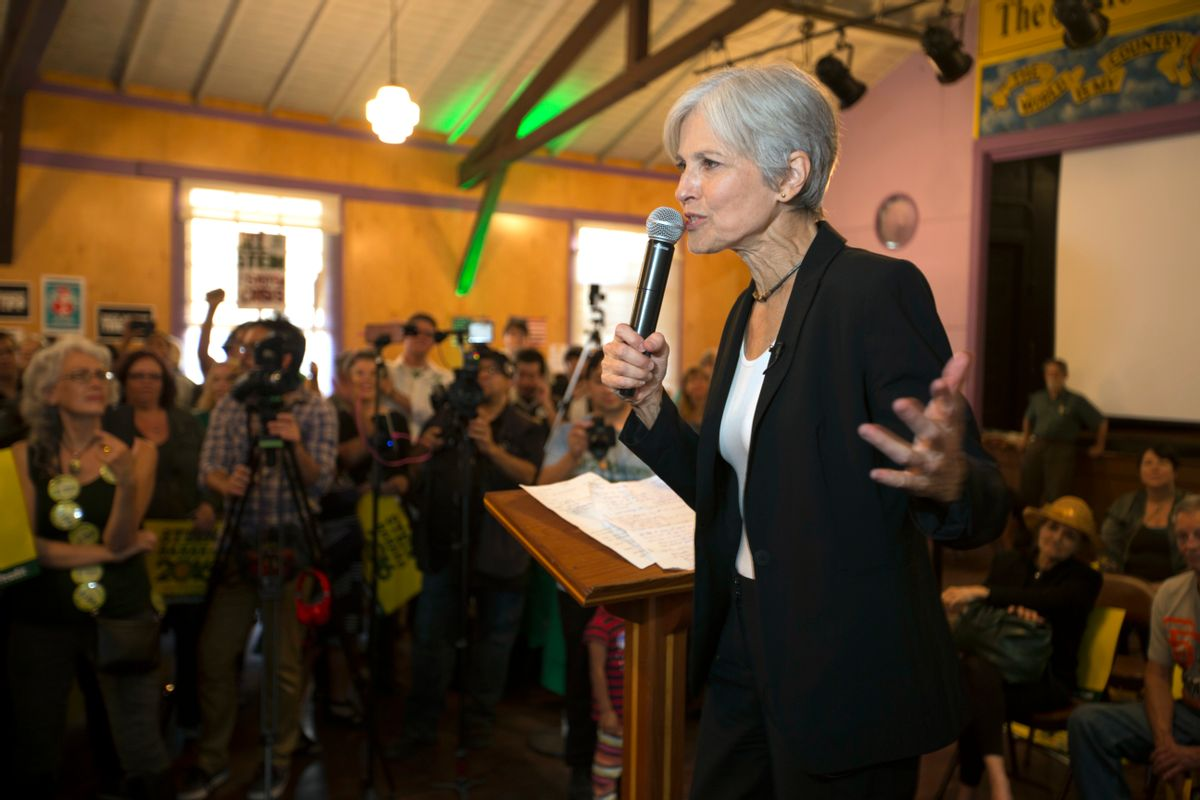 Green party presidential candidate Jill Stein delivers a stump speech to her supporters during a campaign stop at Humanist Hall in Oakland, Calif. on Thursday, Oct. 6, 2016. (AP)