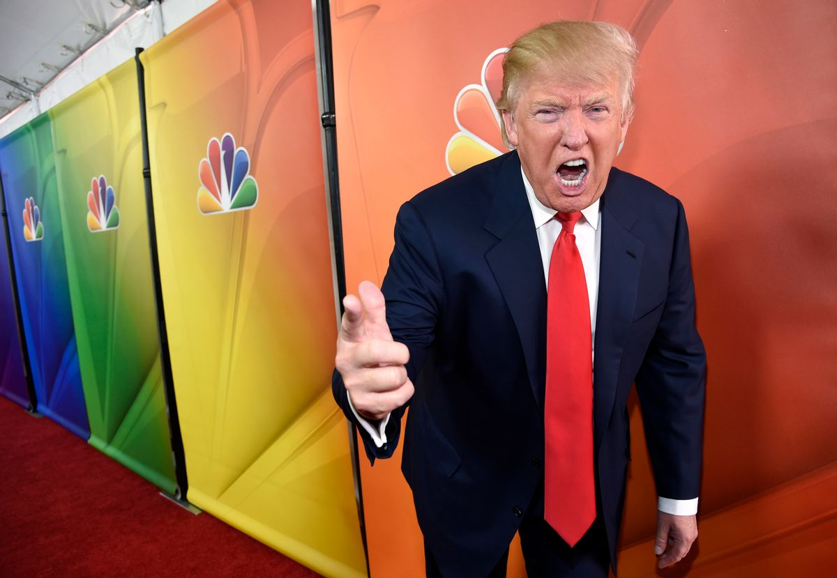 """FILE - In this Jan. 16, 2015 file photo, Donald Trump, host of the reality television series """"The Celebrity Apprentice,"""" poses for photographers at the NBC 2015 Winter TCA Press Tour in Pasadena, Calif. In his years on the """"The Apprentice,"""" Trump repeatedly demeaned women with sexist language, according to show insiders who said he rated female contestants by the size of their breasts and talked about which ones he'd like to have sex with. (Photo by Chris Pizzello/Invision/AP, File) (AP)"""