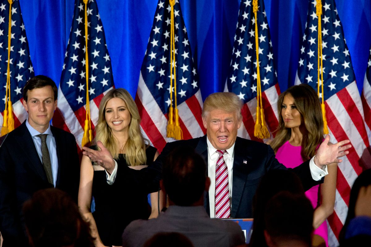 FILE - In this June 7, 2016 file photo, Republican presidential candidate Donald Trump, joined by his wife Melania, daughter Ivanka and son-in-law Jared Kushner, speaks during a news conference at the Trump National Golf Club Westchester in Briarcliff Manor, N.Y. Ushering Trump toward a more analytical approach is Jared Kushner, Trump's son-in-law and adviser, and Brad Parscale, the campaign's digital director and a veteran Trump Organization consultant. (AP Photo/Mary Altaffer, File) (AP)
