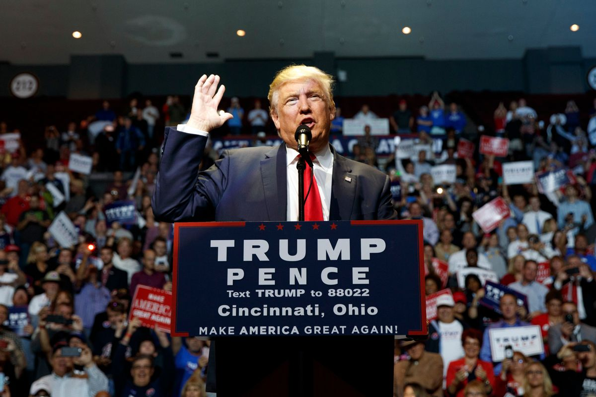 FILE - In this Oct. 13, 2015 file photo, Republican presidential candidate Donald Trump speaks during a campaign rally in Cincinnati, Ohio. There's nothing like a presidential campaign to shine a bright light into the nooks, crannies and back alleys of a candidate's life. And there's nothing like Donald Trump in the annals of U.S. politics.  (AP Photo/ Evan Vucci, File) (AP)