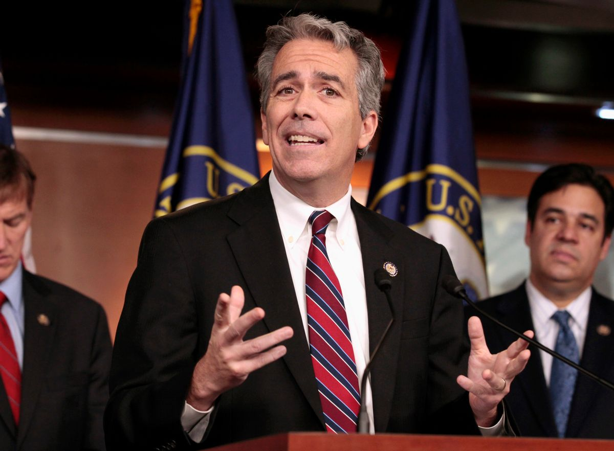 """FILE - In this Nov. 15, 2011, file photo former U.S. Rep. Joe Walsh, R-Ill., gestures during a news conference on Capitol Hill in Washington. Walsh tweeted on Oct. 26, 2016, that he plans plans to grab his musket if GOP nominee Donald Trump loses the presidential election. Walsh later said on Twitter that he was referring to """"acts of civil disobedience."""" (AP Photo/Carolyn Kaster, File) (AP)"""