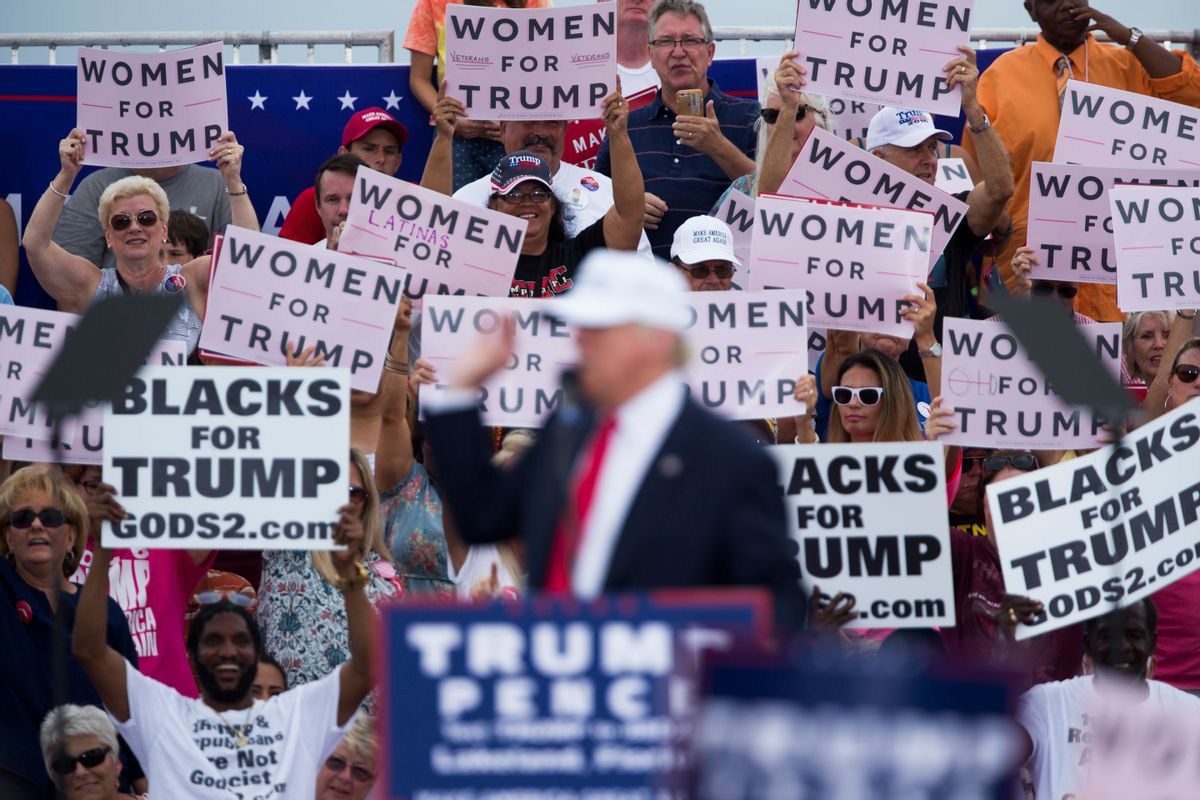 Republican presidential candidate Donald Trump speaks during a campaign rally, Wednesday, Oct. 12, 2016, in Lakeland, Fla. (AP Photo/ Evan Vucci)