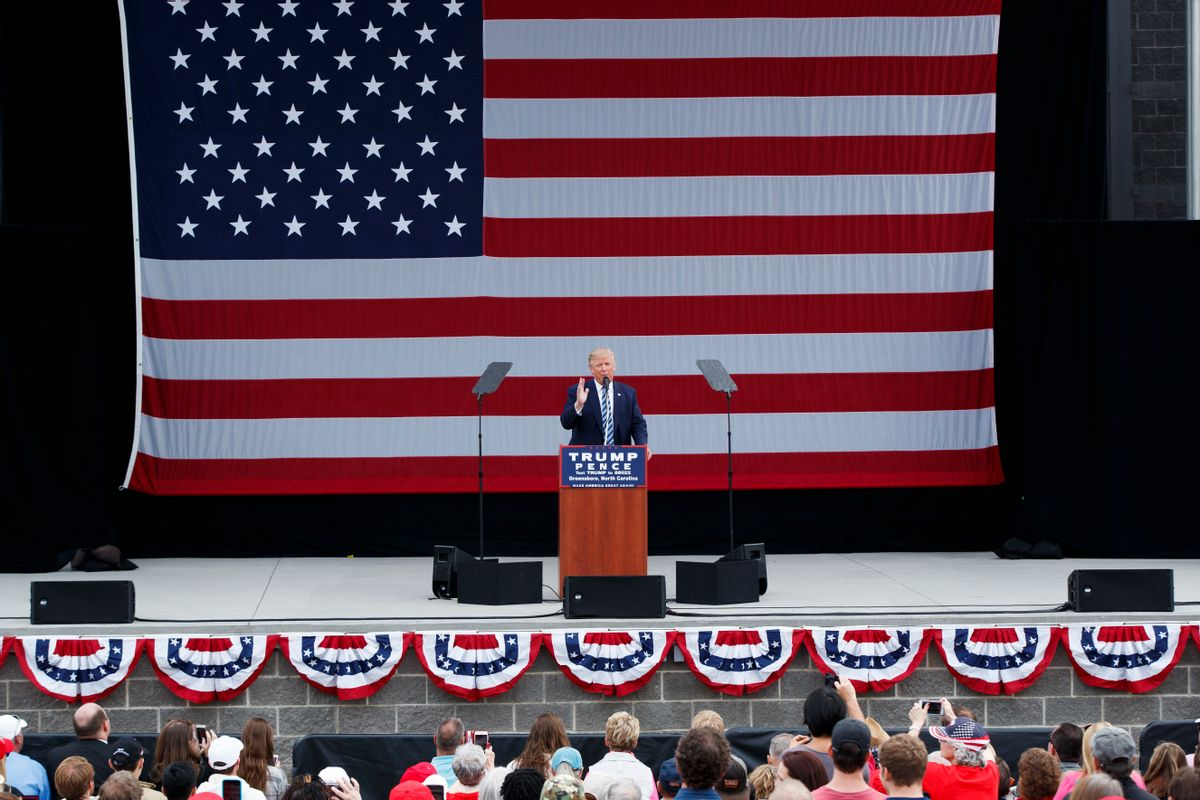Republican presidential candidate Donald Trump speaks during a campaign rally, Friday, Oct. 14, 2016, in Greensboro, N.C.  (AP)