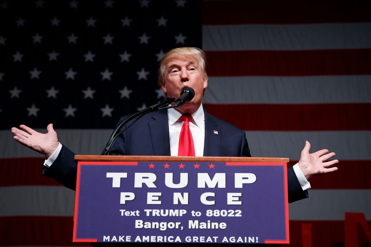 Republican presidential candidate Donald Trump speaks at a campaign rally in Bangor, Maine on Saturday, Oct. 15, 2016.  (AP)