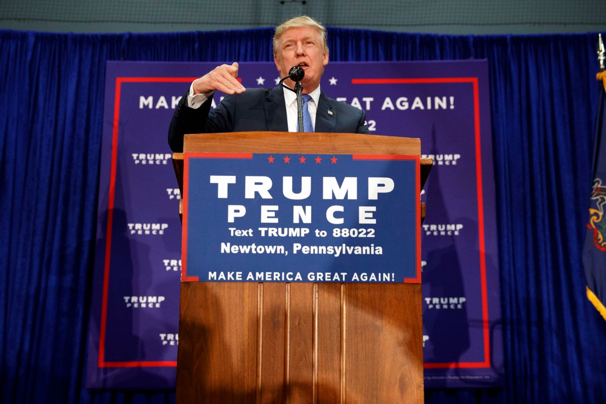 Republican presidential candidate Donald Trump speaks during a campaign rally, Friday, Oct. 21, 2016, in Newtown, Pa.  (AP)