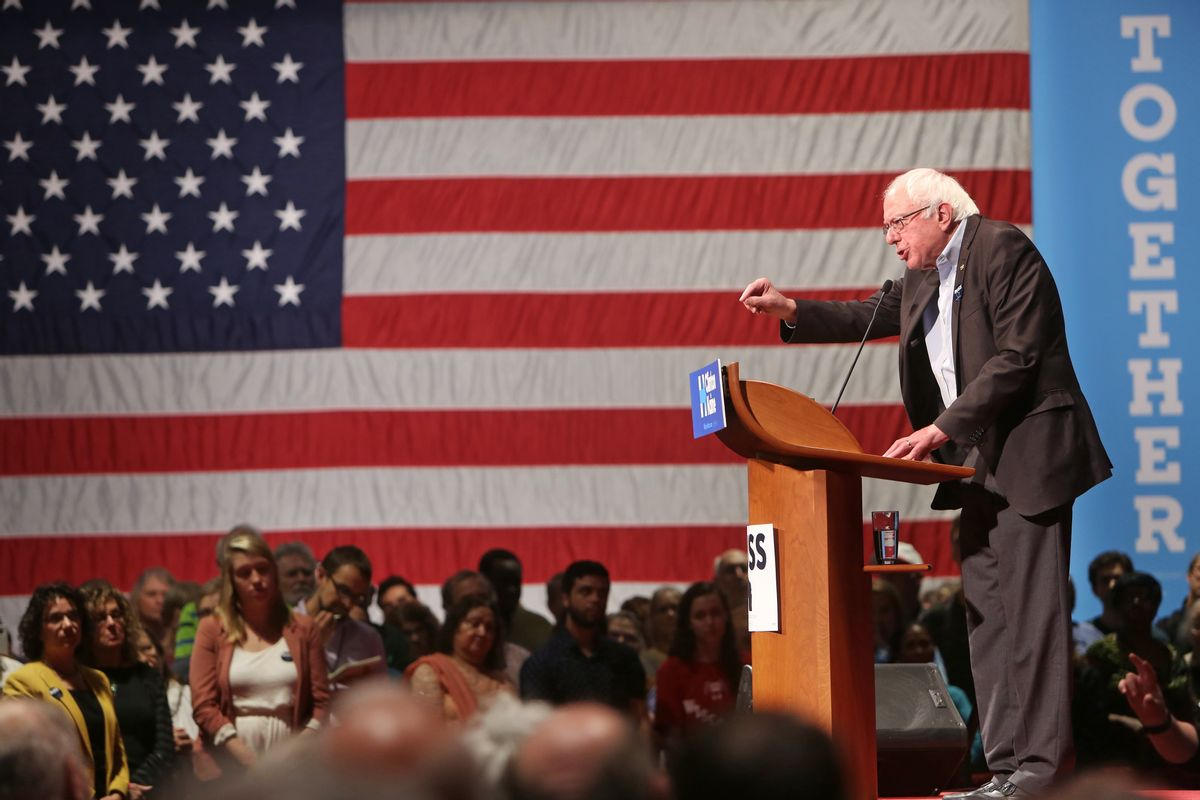Sen. Bernie Sanders, I-Vt., speaksas he campaigns for Democratic presidential candidate Hillary Clinton and Russ Feingold, Democratic candidate for the U.S. Senate, at Monona Terrace Community and Convention Center in Madison, Wis., Wednesday, Oct. 5, 2016.  (AP)